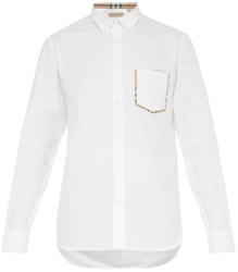 Burberry White Button Down Shirt With Check Detail Pocket