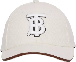 Burberry White Canvas And Light Brown Leather Trim Tb Logo Baseball Cap