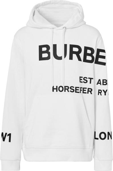 Burberry White Horseferry Allover Logo Hoodie