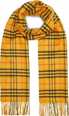 Burberry Yellow And Black Check Scarf