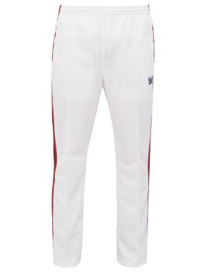 Butterfly Logo White Pants With Red And Purple Side Stripes Worn By Desiigner