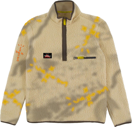 Cactus Jack Beige Abstract Print Sherpa Fleece Jacket