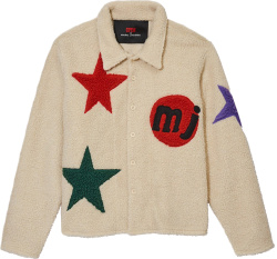 Cactus Plant Flea Market X Marc Jacobs Ivory Star Patch Sherpa Jacket