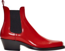 Calvin Klein 205wnyc Patent Red Chelsea Boots