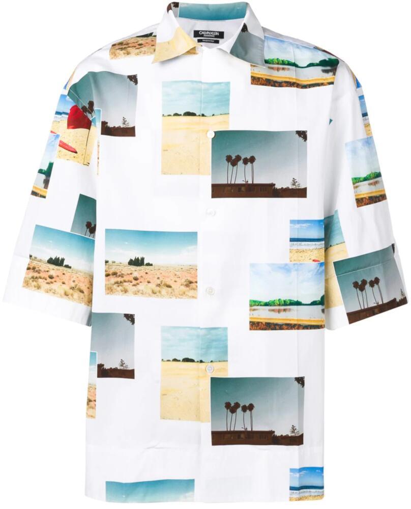 Calvin Klein Allover Postcard Print White Shirt