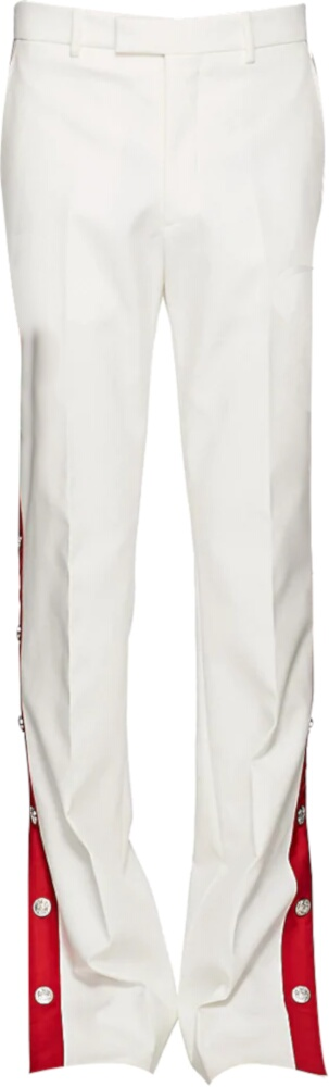 Calvin Klein White Pants With Red Side Stripe And Snaps