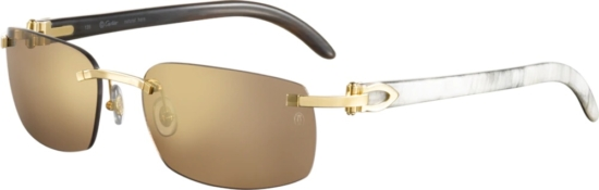 Cartier Brown And White Sunglasses