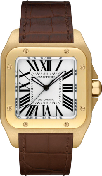 Cartier Gold And Brown Leather Santos 100 Watch W20071y1