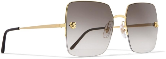 Cartier Square Gold Frame Sunglasses With Panther Studs