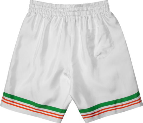 Casablanca Casa Tennis Stripe Silk Shorts