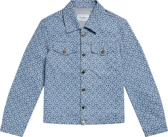 Casablanca Blue Allover Logo Denim Jacket