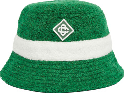 Casablanca Green And White Stripe Wool Terry Cotton Bucket Hat
