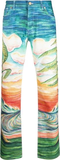 Casablanca Multicolor Costal Beach Sunset Print Idilic Jeans