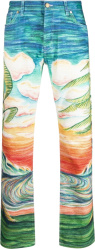 Casablanca Multicolor Costal Beach Sunset Print Idilic Jeans