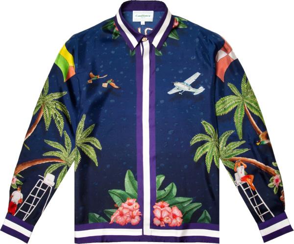 Casablanca Navy Surf Club Silk Shirt