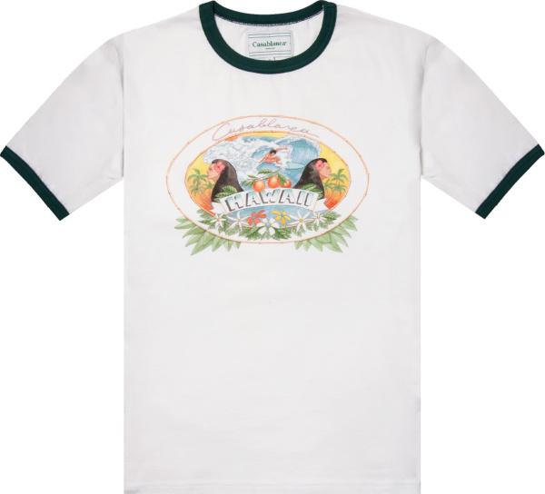 Casablanca White And Green Trim Hawaii Print T Shirt