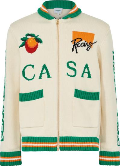 Casablanca White And Green Trim Racing Knit Zip Cardigan