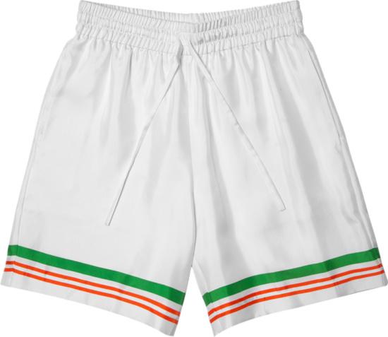 Casablanca White And Striped Hem Silk Shorts