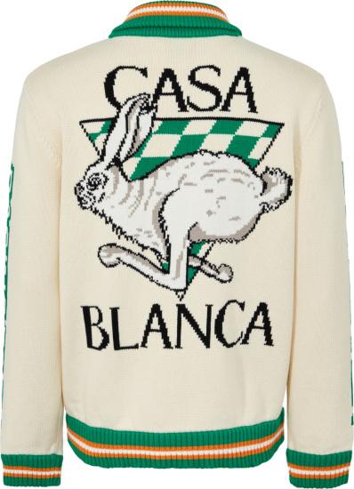 Casablanca White Knit Casa Racing Zip Cardigan Sweater