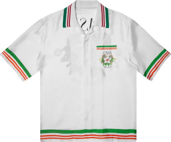 Casablanca White Tennis Club Silk Shirt