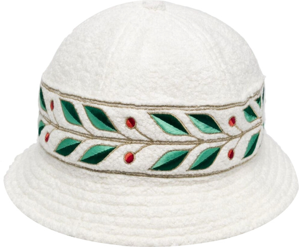 Casablanca White Terry Cotton And Leaf Embroidered Bucket Hat