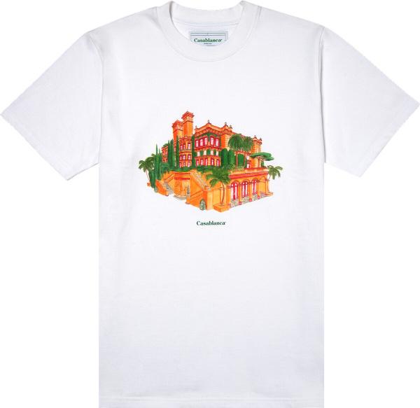 Casablance Hotel Print White T Shrit