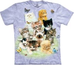 Cat Print Blue Tie Dye T Shirt