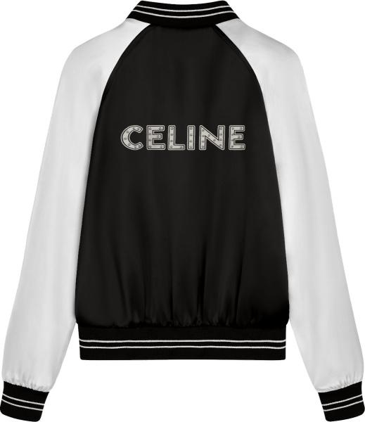Celine Black Satin Studded Logo Varsity Jacket