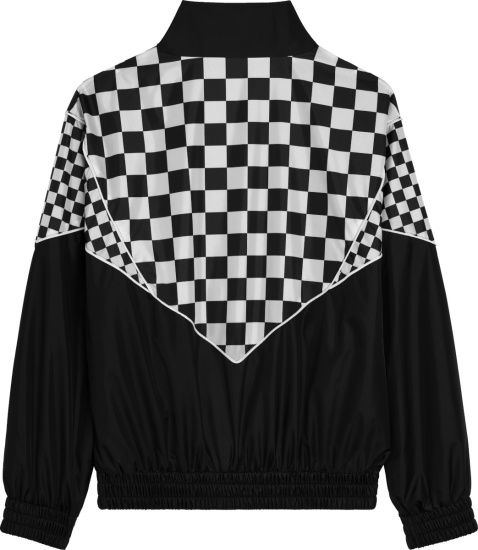 Celine Black And Checkerboard Panel Nylon Windbreaker Jacket