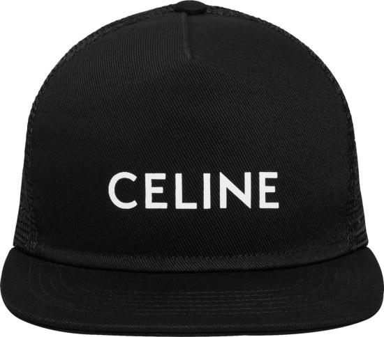 Celine Black And White Logo Print Trucker Hat