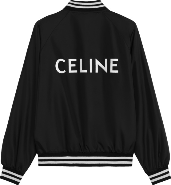Celine Black And White Nylon Logo Bomer Jacket