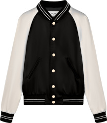 Celine Black And White Satin Teddy Varsity Jacket