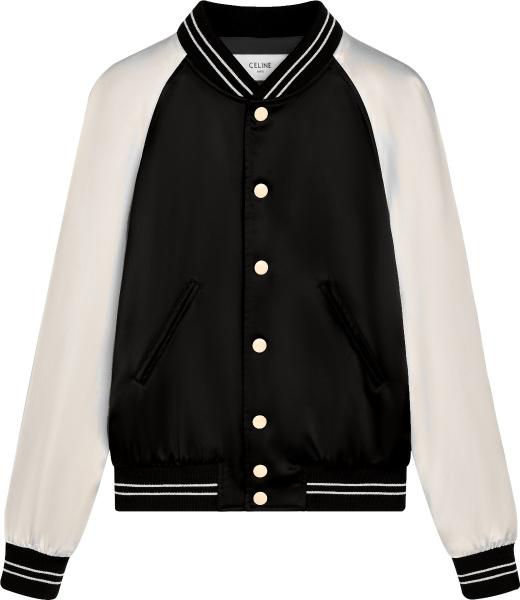 Celine Black And White Satin Teddy Varsity Jacket