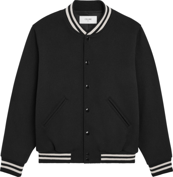 Celine Black And White Striped Trim Varsity Style Jacket