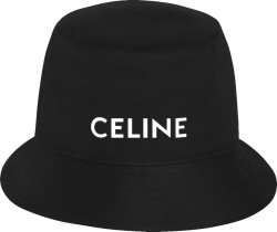 Celine Black Cotton Bucket Hat With White Logo Print
