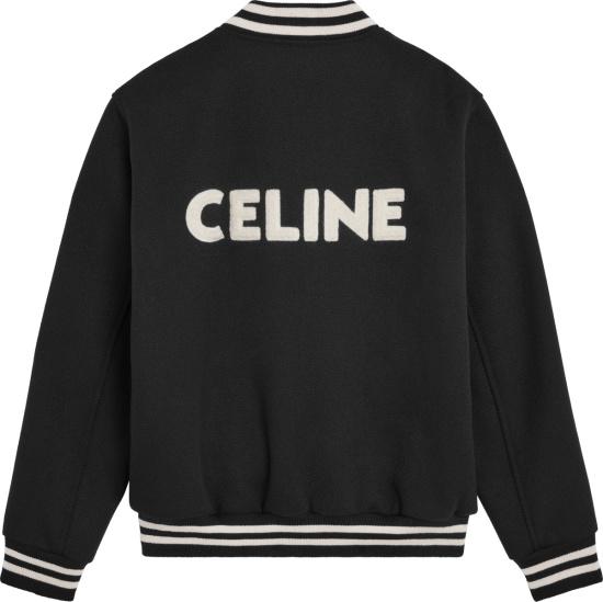 Celine Black Logo Applique Wool Bomber Jacket