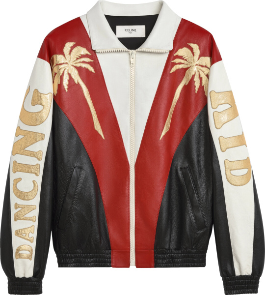 Celine Black Red White Colorblock Palm Tree Leather Jacket