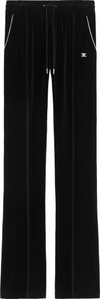 Celine Black Velvet Triomphe Track Pants