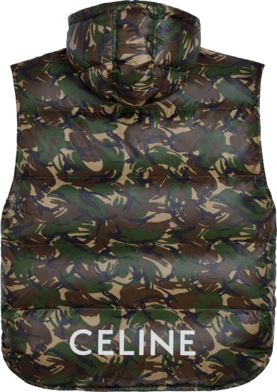 Celine Camouflae Print Puffer Vest