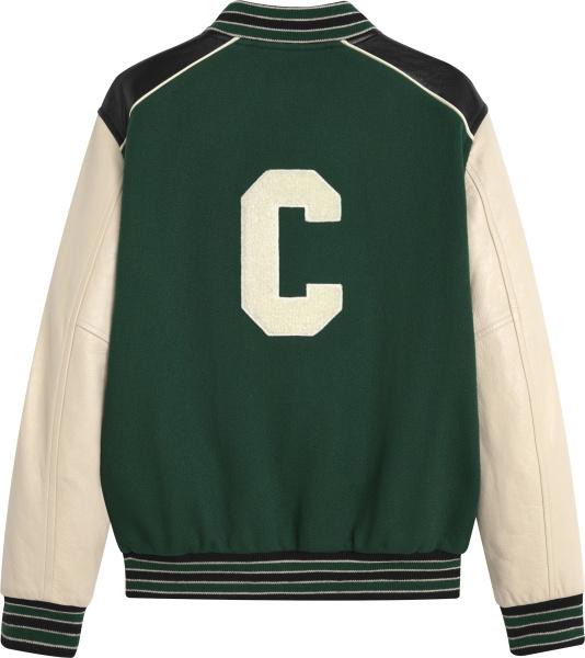 Celine Green White And Black Varsity Jacket
