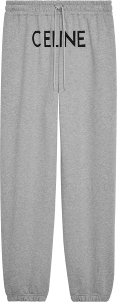 Celine Grey Front Logo Print Sweatpants