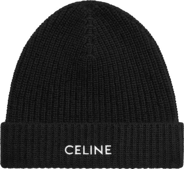 Celine Logo Embroidered Black Beanie