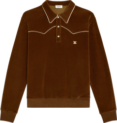 Celine Men Brown Velvet Long Sleeve Polo