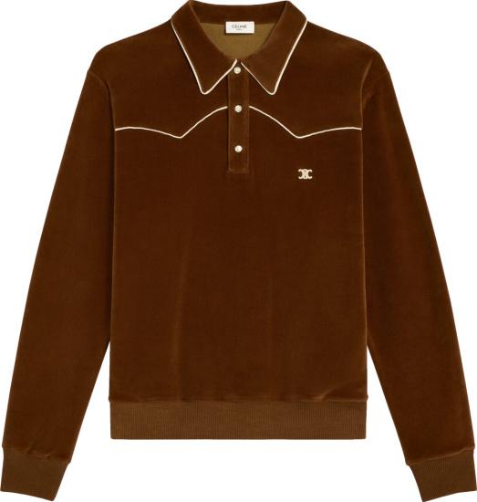 Celine Men Brown Velvet Long Sleeve Polo