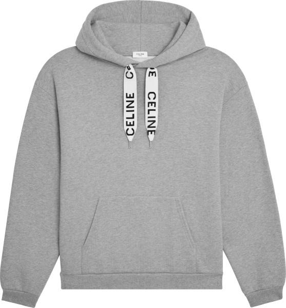 Celine Mens Grey And Wide Logo Drawstring Hoodie 2y468052h 08gc