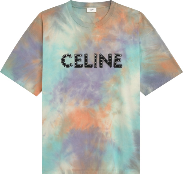 Celine Multicolor Tie Dye And Studded Logo T Shirt