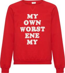 'My Own Worst Enemy' Print Red Sweatshirt