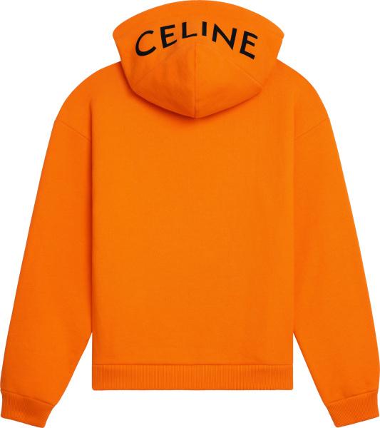 Celine Orange And Black Hood Logo Print Hoodie