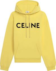 Celine Pale Yellow Logo Print Hoodie