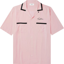 Celine Pink And Black Trim Bowling Shirt